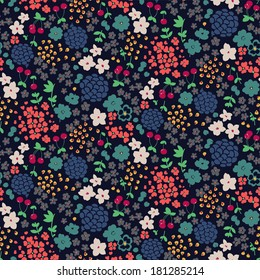Seamless Ditsy Flower Pattern in Vector