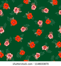 Seamless ditsy pattern in small cute wild flowers. Simple bouquets. Liberty style millefleurs. Floral background for textile, wallpaper, pattern fills, covers, surface, print, wrap, scrapbooking