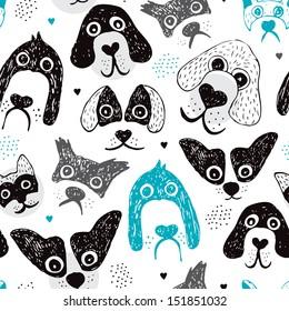 Seamless dog illustration set decorative background pattern in vector