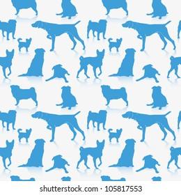 Seamless dog pattern - vector illustration