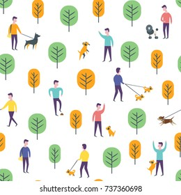 Seamless dog walking pattern. Park entertainment, people with domestic animals. Wrapping paper vector template.