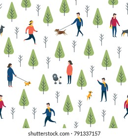Seamless dog walking pattern. Park entertainment, people ourdoor exercising. Wrapping paper vector template.