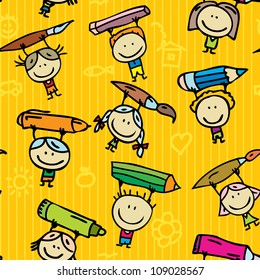 Seamless doodle background of happy drawing kids with pen, pencil and paint