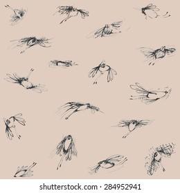 seamless doodle bugs flying