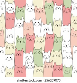 seamless doodle cat pattern vector illustration