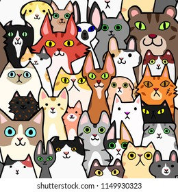 seamless doodle cats faces colorful background