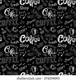 seamless doodle coffee pattern on black background ,hand drawn vector illustration