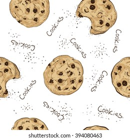 Seamless doodle cookies pattern. Sketch style vector illustration on light background. Chocolate chip cookies.