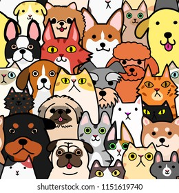 seamless doodle dogs and cats faces colorful background