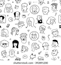 Seamless Doodle Faces Pattern for Cover Design. Black and White Background with Funny People. Vector Illustration
