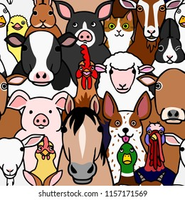 seamless doodle farm animals faces background