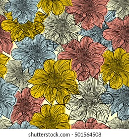Seamless doodle floral pattern.