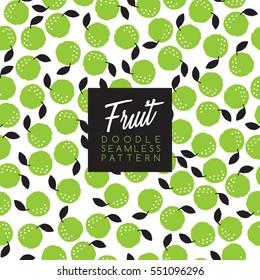 Seamless Doodle Fruit Background Pattern : Vector Illustration