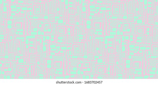 Seamless doodle geometric brick and line contemporary pattern in rythmic ethnic or Memphis style, background. Abstract seamless backdrop. African inspiration retro vector tribal design element.