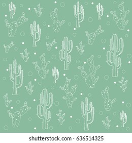 Seamless doodle hand drawn cactus pattern over green background. Vector illustration