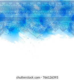 Seamless doodle illustration, zentangle pattern, wallpaper, background, texture. Indian Orment. Design for printing on fabric, textiles. Template for web design, greeting cards. blue watercolor