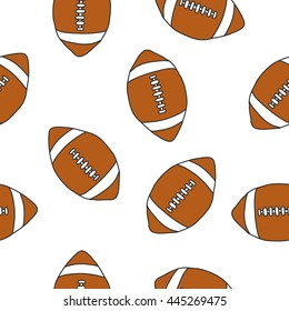 seamless doodle pattern. American football ball. vector illustration