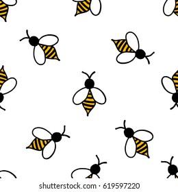 seamless doodle pattern. bee. vector illustration