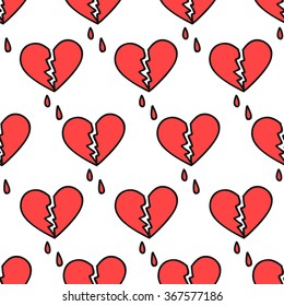 seamless doodle pattern. broken heart. vector illustration