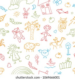 Seamless doodle pattern. Cheerful children's drawings on a white background