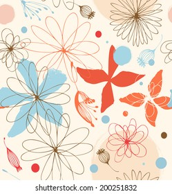 Seamless doodle pattern with drawn flowers. Cute background. Beauty decorative lace pattern