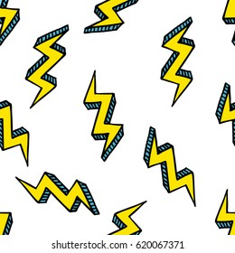 seamless doodle pattern. lightning. vector illustration