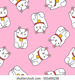 seamless doodle pattern. maneki neko. vector illustration
