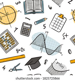 Seamless doodle pattern with school algebra elements. Pattern with mathematical objects: ruler, book, calculator, compass, charts, graphs and others. Vector background.