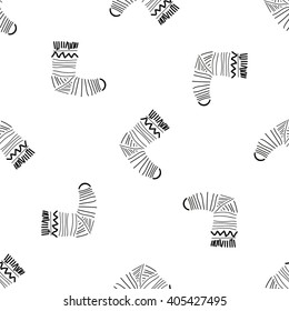 Seamless doodle pattern with socks. Cute hand drawn background.
