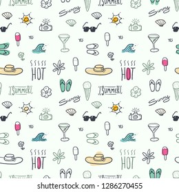 Seamless doodle pattern with summer vacation and beach themes - textile or bedsheet quirky design vector.
