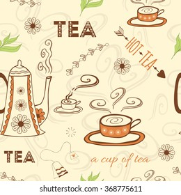 Seamless doodle pattern with tea quote, hot cup of tea with steam, teapot, green tea leaf and hand drawn letters on the beige background. Package with typography design.