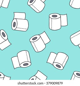 seamless doodle pattern. toilet paper. vector illustration
