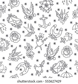 seamless doodle pattern. traditional tattoo flash. vector illustration