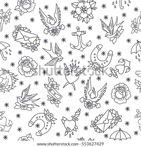 Seamless Doodle Pattern Traditional Tattoo Flash Vector De Stock