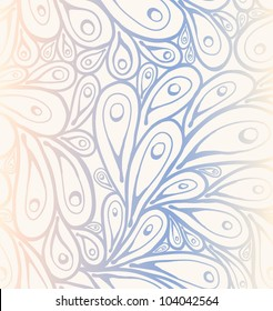 Seamless doodle peacock feathers pattern