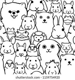 seamless doodle pet animals faces line art background