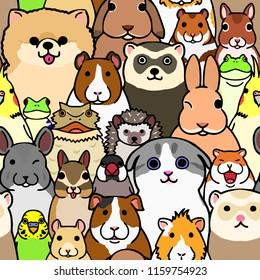 seamless doodle pet animals faces colorful background