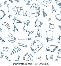 Seamless doodle school equipment. Line art study tools.