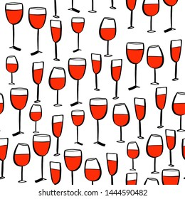 Seamless doodle sketches pattern with wine glass. Vector image.