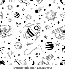 Seamless doodle space pattern. Trendy kids cosmos graphic elements, astronomy pencil sketch. Vector illustration star planet meteor rocket set