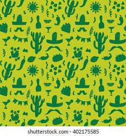 Seamless doodle vector pattern with mexican festive symbols silhouettes: foods, cactus, sombrero, pepper.