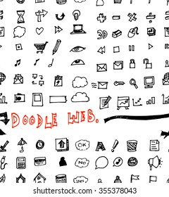 Seamless doodle web infographics background vector illustration