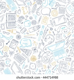 Seamless doodles pattern of work place. Hand-drawn outlined gadgets and office supplies on white background. 70+ items. Top view. Work and education. Stationery, food, drinks, laptop, mobile, pizza.
