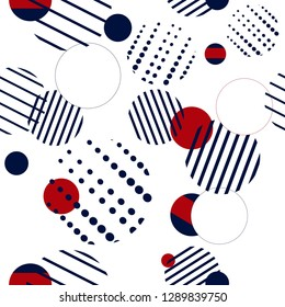 Seamless dots pattern in retro colors. White background with geometry circle. Vector illustration