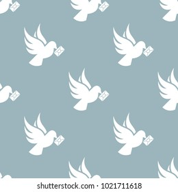 Seamless dove pattern. Love symbol from icon collection. Vector illustration on blue background. Simple graphic design. Can be used in web and mobile.