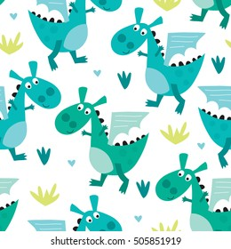 seamless dragon pattern vector illustration
