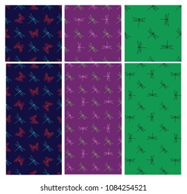 Seamless with dragonfly and butterfly. For printed t shirt, graphic tee, wallpaper and other design.