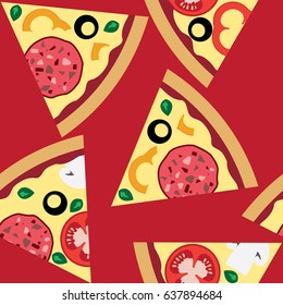 seamless drawing of pizza with vegetables - Shutterstock ID 637894684