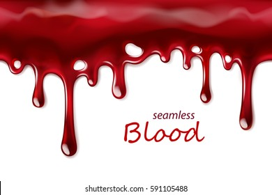 Seamless dripping blood repeatable isolated on white, vector art and illustration.