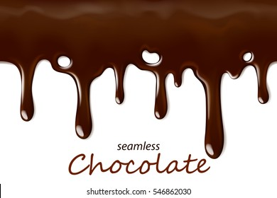 Seamless dripping chocolate repeatable isolated on white, vector art and illustration.